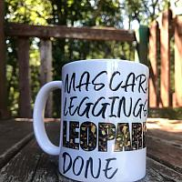 Mascara, Leggings, Leopard, Done Sublimation Coffee Cup