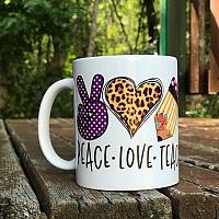 Peace Love Teach Sublimation Coffee Cup