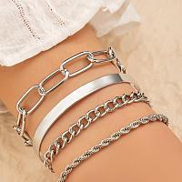 4pcs Minimalist Bracelet Silvertone