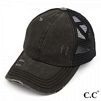 C.C. Black Distressed Criss Cross Pony Cap with Mesh Back