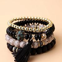 Black Tassel Charm Beaded Bracelet