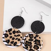 Leopard Round Drop Earrings