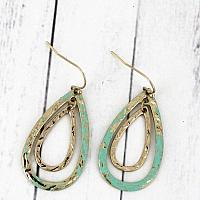 Goldtone and Patina Double Teardrop Earrings