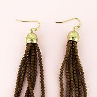 Bronze Faceted Bead Tassel Earrings