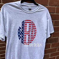 Red, White, Blue Monogram Sublimation Tee