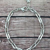 Crystal Trimmed Silvertone 'Faith' Disk & Cross Charm Bracelet