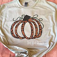 Brown and Orange Leopard Print Pumpkin Tee