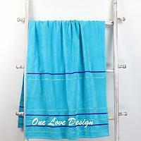 Solid Blue Embroidered Beach Towel