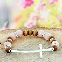 ROSE PINK AND WOOD BEADED CROSS STRETCH BRACELET