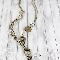 BURNISHED BRASSTONE COIN AND CRYSTAL LOBSTER CLAW PENDANT NECKLACE