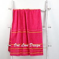Solid Pink Embroidered Beach Towel