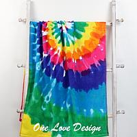 Tie Dye Embroidered Beach Towel