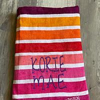 Bright Stripe Embordered Beach Towel